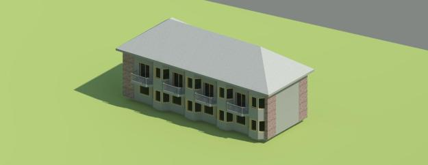 Better rear view of micro apt building{3D}3