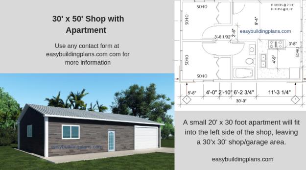 3 Bay Shop with Small Apartment | easybuildingplans